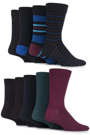 Mens 9 Pair SockShop Comfort Cuff Plain and Patterned Bamboo Socks with Smooth Toe Seams