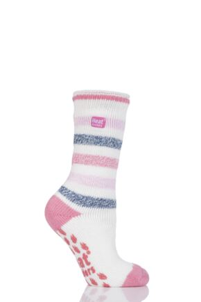 Ladies 1 Pair SockShop Heat Holders Striped Slipper Socks Pink / Cream 4-8 Ladies