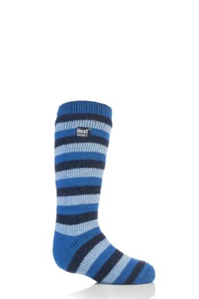 Kids 1 Pair Heat Holders Long Leg Striped Thermal Socks Blue 9-12 Kids