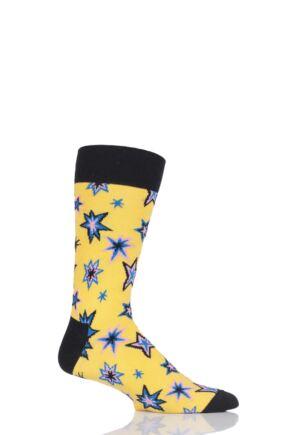 Mens and Ladies 1 Pair Happy Socks Bang Bang Combed Cotton Socks Yellow 4-7 Unisex