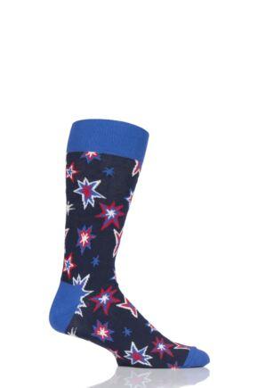 Mens and Ladies 1 Pair Happy Socks Bang Bang Combed Cotton Socks