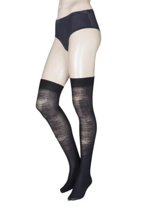 Ladies 1 Pair Trasparenze Brachetto Distressed Look Over the Knee Socks