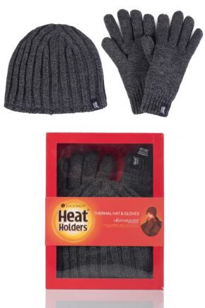 Mens 2 Pack Heat Holders Gift Boxed Hat and Gloves Set Charcoal L/XL