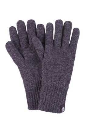 Mens 1 Pair Heat Holders 2.3 Tog Heatweaver Yarn Gloves Burgundy S/M