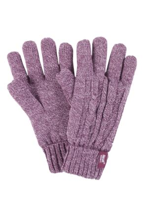 Ladies 1 Pair Heat Holders 2.3 Tog Heatweaver Yarn Gloves Rose S/M