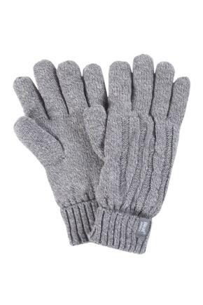Ladies 1 Pair Heat Holders 2.3 Tog Heatweaver Yarn Gloves Grey M/L