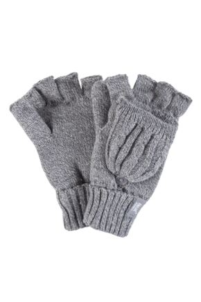 Ladies 1 Pair Heat Holders 2.3 Tog Heatweaver Yarn Fingerless Gloves with Converter Mitt