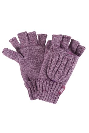 Ladies 1 Pair Heat Holders 2.3 Tog Heatweaver Yarn Fingerless Gloves with Converter Mitt Rose