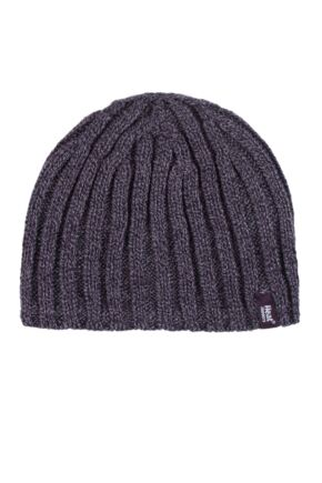 Mens 1 Pack Heat Holders 3.4 Tog Heatweaver Yarn Hat In Black Burgundy