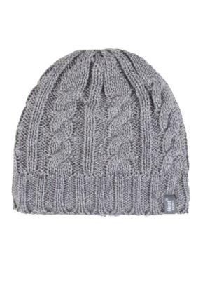 Ladies 1 Pack Heat Holders 3.4 Tog Heatweaver Yarn Hat Light Grey