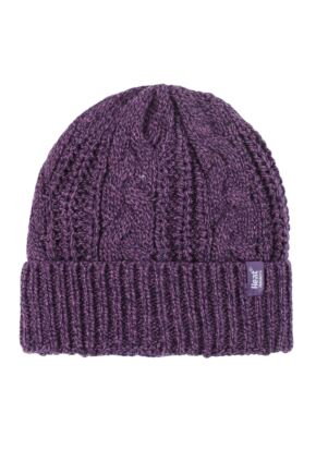 Ladies 1 Pack Heat Holders Heat Weaver Cable Knit Hat Purple