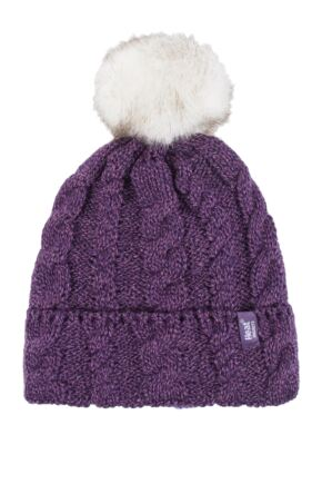 Ladies 1 Pack Heat Holders Heat Weaver Cable Knit Pom Pom Hat Purple