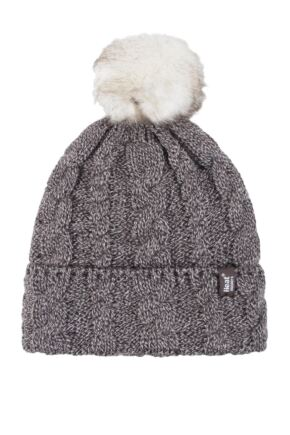 Ladies 1 Pack Heat Holders Heat Weaver Cable Knit Pom Pom Hat Fawn