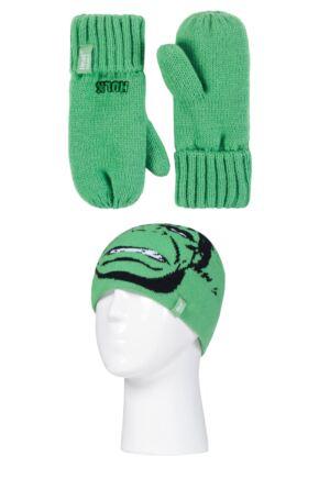 Kids 1 Pack SOCKSHOP Heat Holders Marvel Hulk Hat & Mittens