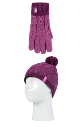 Kids 1 Pack SOCKSHOP Heat Holders Diamond Pom Pom Hat & Gloves