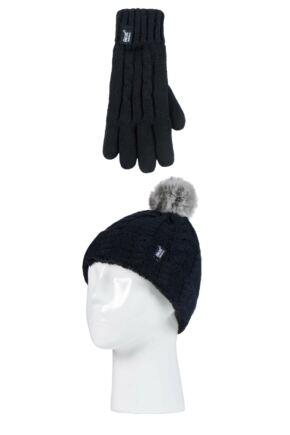 Kids 1 Pack SOCKSHOP Heat Holders Cable Turn Over Pom Pom Hat & Gloves