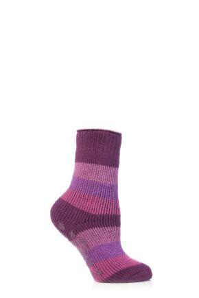 Kids 1 Pair SockShop Striped Slipper Heat Holders Size 9-12 Socks Deep Fuchsia