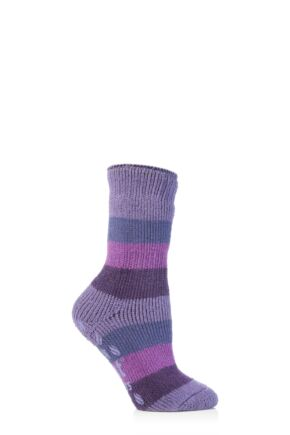 Kids 1 Pair SockShop Striped Slipper Heat Holders Size 9-12 Socks Dark Lilac