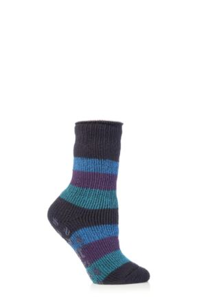 Kids 1 Pair SockShop Striped Slipper Heat Holders Size 9-12 Socks Midnight