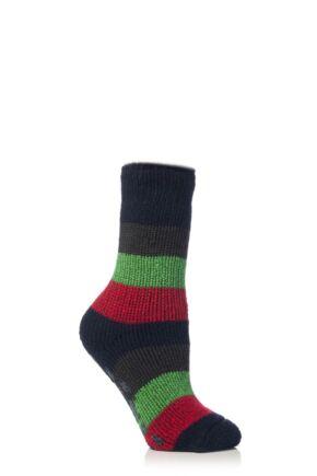 Kids 1 Pair SockShop Striped Slipper Heat Holders Size 9-12 Socks Navy