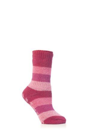 Kids 1 Pair SockShop Striped Slipper Heat Holders Size 9-12 Socks Raspberry
