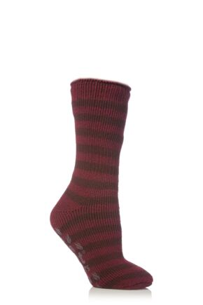 Kids 1 Pair SockShop Striped Slipper Heat Holders Size 4-5.5 Socks Dark Crimson