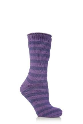 Kids 1 Pair SockShop Striped Slipper Heat Holders Size 4-5.5 Socks Dark Lilac