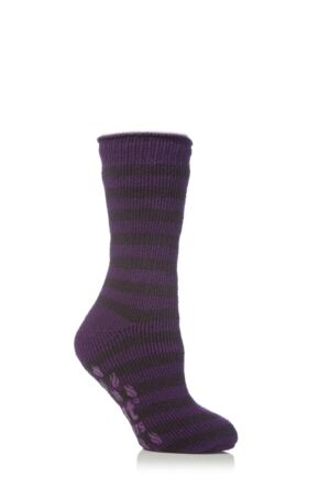 Kids 1 Pair SockShop Striped Slipper Heat Holders Size 4-5.5 Socks Plum