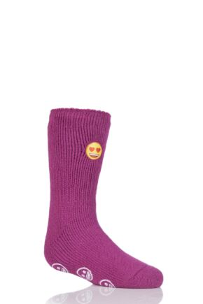 Kids 1 Pair SockShop Heat Holders Emoji Heart Face Slipper Socks Cerise 9-12 Kids