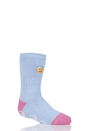 Kids 1 Pair SOCKSHOP Heat Holders Emoji Angel Face Slipper Socks