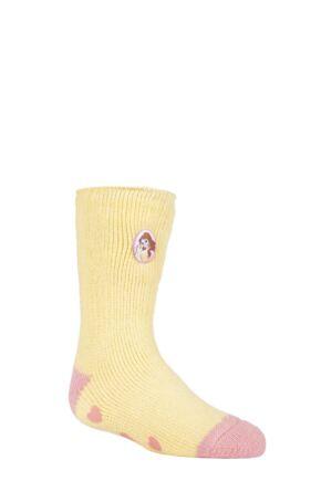Kids 1 Pair SOCKSHOP Heat Holders Disney Beauty and the Beast Slipper Socks Yellow 9-12 Kids