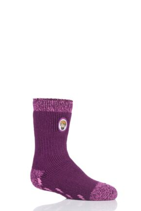 Girls and Boys 1 Pair Heat Holders Harry Potter Thermal Socks with Grips Cerise 9-12 Kids (3-8 Years)