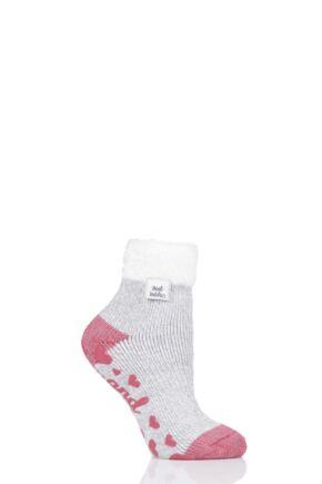 Ladies 1 Pair Heat Holders Lounge Feather Top Socks Light Grey 4-8 Ladies