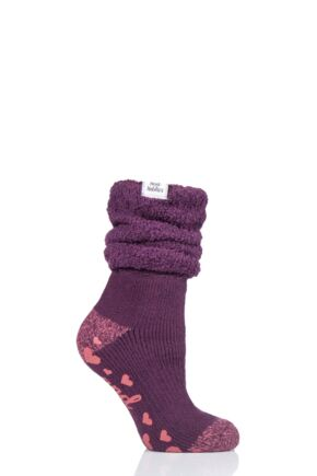 Ladies 1 Pair Heat Holders Lounge Cosy Slouch Socks Wine 4-8 Ladies