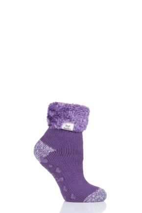 Ladies 1 Pair Heat Holders Lounge Feather Turn Over Cuff Socks Aubergine 4-8 Ladies