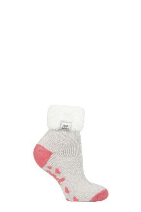 Ladies 1 Pair Heat Holders Lounge Feather Turn Over Cuff Socks Light Grey Twist 4-8