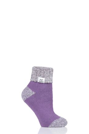 Ladies 1 Pair Heat Holders Sleep Rib Turn Over Cuff Socks Lilac 4-8 Ladies