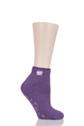 Ladies 1 Pair SockShop Heat Holders Ankle Slipper Socks Lilac Mauve