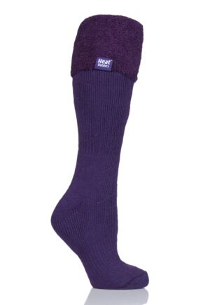Ladies 1 Pair SockShop Wellington Boot Heat Holders Thermal Socks Purple