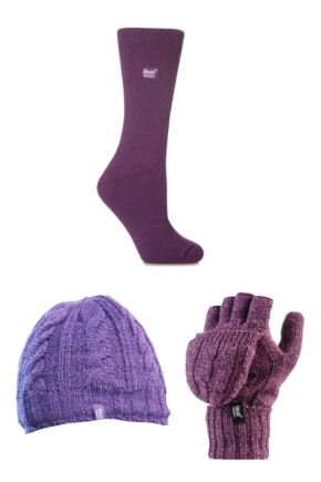 Ladies SockShop Heat Holder Hat Gloves and Socks Pack