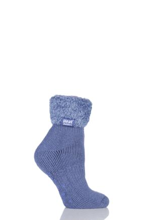 Ladies 1 Pair SockShop Heat Holders 2.3 TOG Thermal Lounge Socks Dark Lavender 4-8