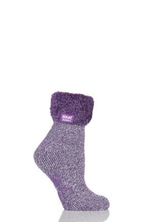 Ladies 1 Pair SockShop Heat Holders 2.3 TOG Thermal Lounge Socks Lilac Mauve / Cream 4-8