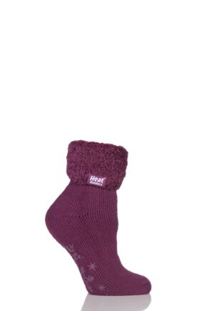 Ladies 1 Pair SockShop Heat Holders 2.3 TOG Thermal Lounge Socks Plum 4-8
