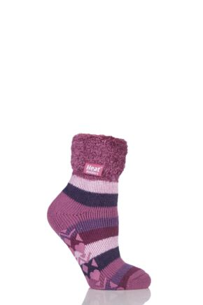 Ladies 1 Pair SockShop Heat Holders 2.3 TOG Thermal Lounge Socks Muted Pink Stripe 4-8