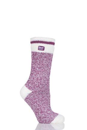 Ladies 1 Pair SockShop Twisted Yarn Heat Holders Thermal Socks Berry 4-8 Ladies