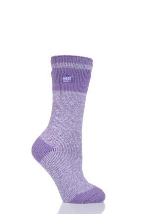 Ladies 1 Pair SockShop Heat Holders Block Twist Socks