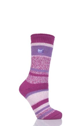 Ladies 1 Pair SockShop Heat Holders Multi Twisted Stripe Socks