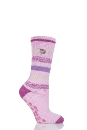 Ladies 1 Pair SockShop Heat Holders Striped Slipper Socks