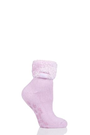 Ladies 1 Pair SOCKSHOP Heat Holders Turn Over Top Plain Lounge Socks