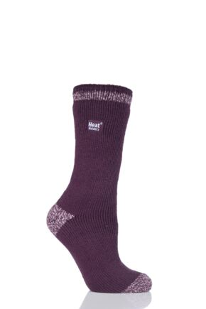 Ladies 1 Pair SockShop Heat Holders Twist Heel and Toe Socks Burgundy 4-8 Ladies